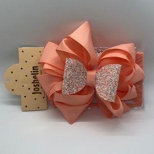 Joshelin Orange Glitter Bow Headband